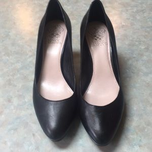 Vince Camuto black leather pumps